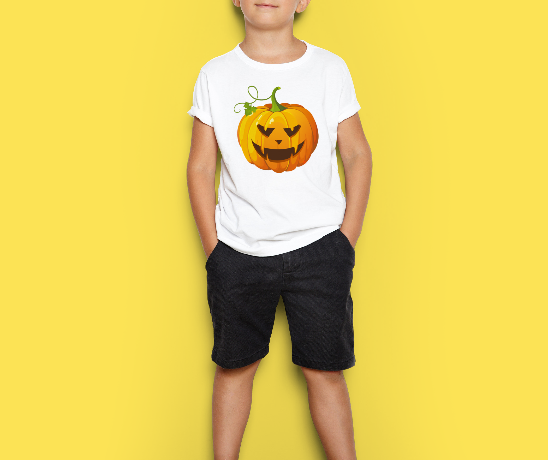 kids halloween pumpkin, white T