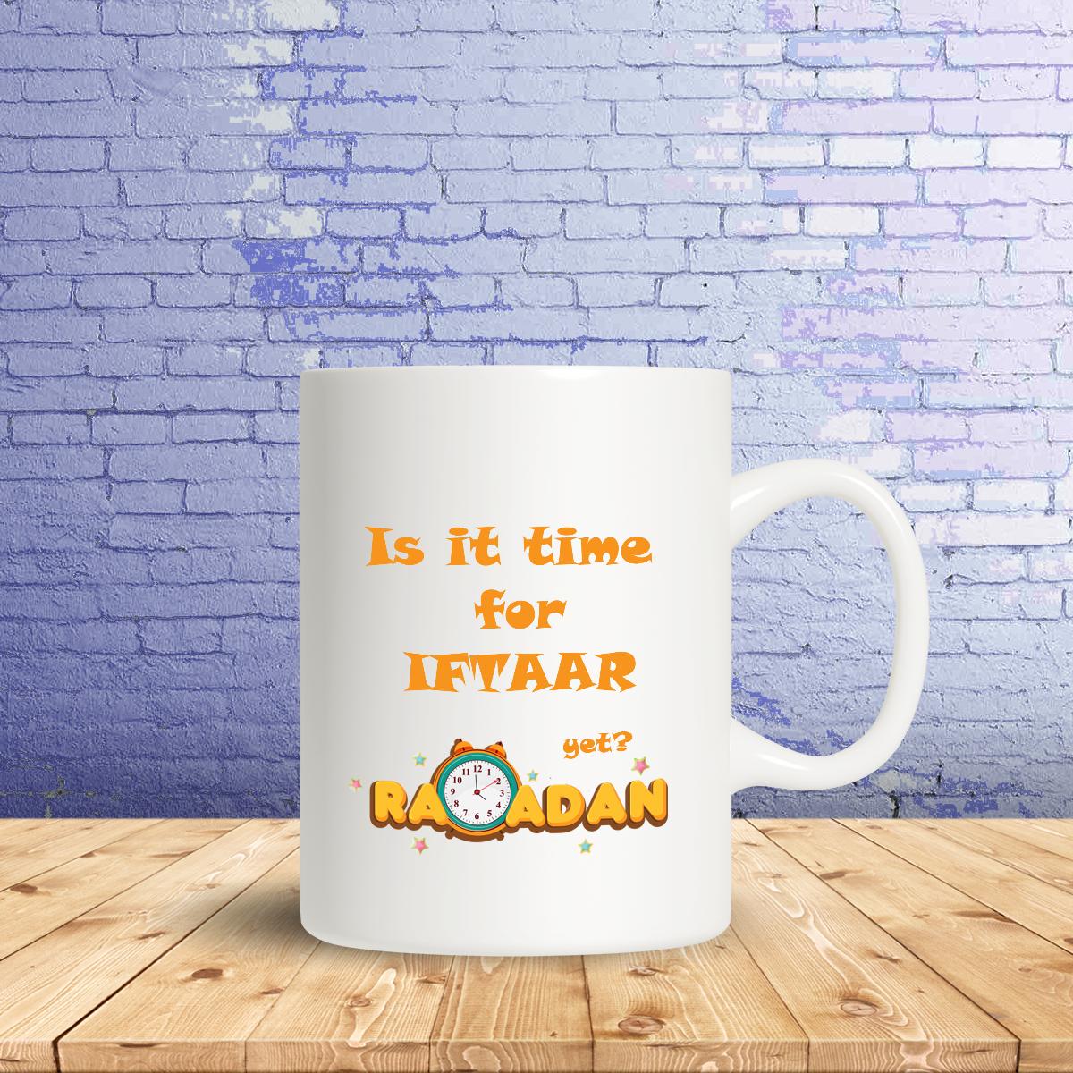 mug Is it time iftaar, clock